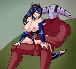 armor blue_eyes blush breasts brown_hair clothed_female_nude_male dota_2 female forehead_protector helmet large_breasts large_penis leotard long_hair male mirana nude penis pussy santystuff smile straight sven testicles thighhighs toeless_legwear vaginal_penetration waist_grab