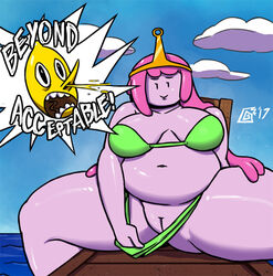 ! adventure_time belly big_belly big_breasts bikini blood breasts cartoon_network clothed clothing digital_media_(artwork) dizzy_demon english_text female hair humanoid humor lemongrab male navel nosebleed not_furry open_mouth overweight partially_clothed pink_skin pinup pose presenting princess_bubblegum pussy smile spreading swimsuit text