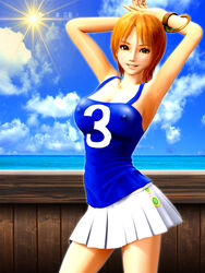 1girl 3d armpits blouse breasts brown_hair cloud erect_nipples female female_only incise_soul large_breasts legs miniskirt nami one_piece orange_hair shiny_skin short_hair sky smile solo sun water
