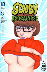 1girl breasts cleavage female female_only freckles glasses nerd scooby-doo scottblair solo sweater tease underboob velma_dinkley voluptuous