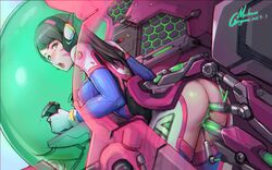absurdres ass ass_cutout brown_eyes brown_hair cockpit covered_nipples cross_section d.va facial_mark female gorgeous_mushroom headphones highres long_hair looking_back mecha overwatch parted_lips sex_machine skin_tight solo