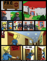 4boys ass blonde_hair blue_eyes chacomics clothed comic crossover english_text erection gloves grovyle growlmon hat human male male_only narse nintendo nude penis pokemon poster rabin shirt short_hair sign standing tail testicles text video_games