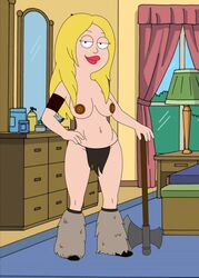 american_dad axe barbarian battle_axe big_lips blonde_hair cloth cosplay francine_smith frost969 fur_boots long_hair pink_lips