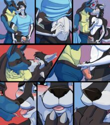 2015 2boys animal_genitalia animal_penis anthro blue_fur blush canine canine_penis claws closed_eyes clothing comic erection fangs finger_in_mouth fingers fur furry gay hair half-closed_eyes husky kissing knot lucario male male_only mammal nintendo open_mouth penis pokemon saliva simple_background smile teeth testicles tongue tongue_out tropicalpanda video_games