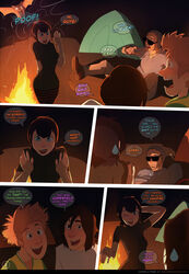 black_hair camp_fire comic dialogue female fire hotel_transylvania male mavis_dracula night sillygirl sinner tagme text
