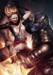 1boy 1girl actress armor armpit belly blonde_hair blood blue_skin bodysuit breasts brie_larson captain_marvel carol_danvers celebrity closed_eyes female guro legs long_hair male marvel marvel_comics ms._marvel mushroompus navel nipples open_mouth pussy spread_legs teeth thanos thighs tongue torn_clothes vagina