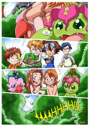 2girls 4boys comic digihentai digimon embarrassed mimi_tachikawa nipples sora_takenouchi