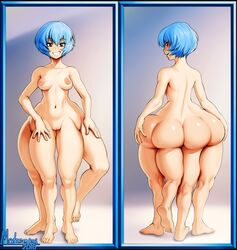 ass barefoot blue_hair breasts butt_crack extra_legs female modeseven monster_girl multiple_legs nipples nude pussy tagme what