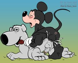 all_fours anal anal_sex anthro anus ass balls blush brian_griffin canine canine cum cum_in_ass cum_inside disney doggy_style duo erection family_guy feet from_behind_position gradient_background hi_res interspecies ket-ralus kuroi_wolf male male/male mammal mickey_mouse mouse nude orgasm orgasm_face penetration penis rodent sex simple_background sweat