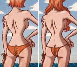 1girl age_difference back_view bare_legs bare_shoulders blue_background bracelet breasts cloud duskchant female female_only hand_on_hip hips large_breasts legs long_hair medium_breasts nami one_piece orange_hair orange_panties panties shiny shiny_skin short_hair sky solo standing tattoo topless water