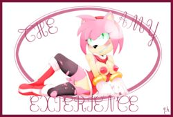amy_rose anthro big_breasts blush breasts clothed clothing english_text erect_nipples female fishnet goat-head_(artist) green_eyes hair hedgehog mammal nipples open_shirt pink_hair pose pussy smile solo sonic_(series) spread_legs spreading text torn_clothing