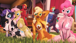 2016 3d alternate_species animal_genitalia animal_penis anthro anthrofied applejack_(mlp) armpits ass big_breasts big_macintosh_(mlp) blonde_hair blue_eyes bovine breasts cattle clothing cow_print cutie_mark equine equine_penis female fluttershy_(mlp) friendship_is_magic furry green_eyes hair hat horn horse huge_breasts indigosfm long_hair male mammal multicolored_hair my_little_pony nude open_mouth penis pink_hair pinkie_pie_(mlp) pony purple_hair rainbow_dash_(mlp) rainbow_hair raricow_(mlp) rarity_(mlp) smile