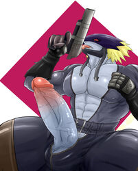anthro beelzebumon beelzemon clothed clothing digimon gun humanoid_penis long_penis male penis ranged_weapon simple_background solo weapon welvet zipper