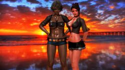 2girls 3d abs bare_legs beach black_bra blush bra breasts brown_eyes brown_hair brown_lipstick cloud dark_skin elf female female_only glasses hand_on_hips hips human illusion large_breasts legs lipstick looking_at_viewer miniskirt multiple_girls necklace orange_eyes pointy_ears red_lipstick shiny shiny_skin sky standing stomach sunset thigh_highs thighhighs tied_hair