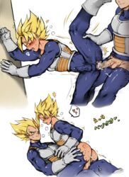 2boys against_wall anal ass bara blonde_hair blush comic cum dragon_ball_z erection male_focus multiple_boys penis sex torn_clothes white_background yaoi