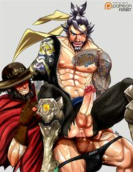 2boys abs anal bara beard erection facial_hair hanzo_(overwatch) hat male_focus mccree_(overwatch) multiple_boys muscle nipples overwatch pecs penis sex sitting sitting_on_person smile tattoo wince yaoi