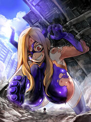 1girl all_fours armpits blonde_hair blood blue_legwear bodysuit breasts building city clenched_teeth cloud female female_only giant gigantic_breasts gloves hand horn horns injury large_breasts legwear long_hair looking_down mount_lady my_hero_academia one_eye_closed purple_gloves red_eyes sky solo stocking thigh_highs thighhighs torn_clothes very_long_hair wink