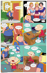 arabatos big_breasts breasts chris_griffin computer erect_nipples family_guy female looking_at_viewer smile stewie_griffin sweating tight_clothing