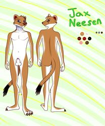 2016 anthro ass balls canine digital_media_(artwork) ermine fur hybrid jaxneesen looking_at_viewer male mammal model_sheet mustelid nude penis simple_background smile solo weasel
