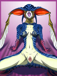 anthro bee_woman_(character) blue_skin breasts censored female happy humanoid inviting kamen_rider monster monster_girl monstrous_humanoid multicolored_skin nipples nude open_mouth pussy solo spread_legs spreading stripes tongue tongue_out unknown_artist white_skin