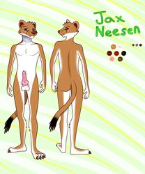2016 anthro ass balls canine digital_media_(artwork) erection ermine fur horny hybrid jaxneesen looking_at_viewer male mammal model_sheet mustelid nude penis simple_background smile solo weasel