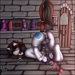 amazin-arts anal_beads animal_genitalia animal_penis ass balls blush bondage brick cell chains chastity closed_eyes cum cum_in_ass cum_in_mouth cum_inside cum_on_anal_beads cum_on_ground cutie_mark dildo dildo_shelf dungeon equine equine_penis fan_character forced hooves horn horse male male_only mammal my_little_pony open_mouth penis pony presenting presenting_hindquarters raised_behind raised_tail sex_toy solo solo_male tagme unicorn