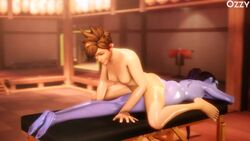 2girls 3d animated areolae ass barefoot breasts brown_hair bubble_butt dat_ass feet female female_only jiggle long_hair massage nipples no_sound nude oil overwatch ozzysfm ponytail purple_skin short_hair small_breasts source_filmmaker tied_hair toes tracer webm widowmaker yuri