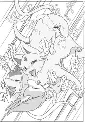 absurd_res anal anal_sex blush bow brother brother_and_sister censored closed_eyes comic doujinshi eeveelution espeon female fen feral from_behind_position group group_sex hair_ribbon hairbow heart hi_res japanese_text lying male male/female monochrome nintendo on_back open_mouth outside paws penetration penis pokemon pussy restraints ribbons saliva sandwich_position sex sibling sister sylveon tentacle text threesome tongue tongue_out translated video_games water