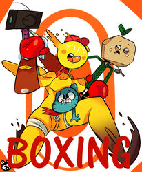 boxing boxing_gloves cartoon_network clothing feline feline female gumball_watterson legwear male mammal nipples nude orange_nipples penny_fitzgerald pussy raamskorge sport the_amazing_world_of_gumball