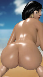 1girl 2016 3d artist_name ass back_view bare_legs bare_shoulders beach big_ass black_hair braids breasts brown_eyes brown_lipstick cloud dark_skin dat_ass female female_only hips large_breasts legs lipstick looking_at_viewer looking_back makeup nose nude overwatch pharah pornfessorx pussy short_hair sky solo squatting twin_braids vagina