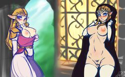 2girls blonde_hair blue_eyes blush breasts brown_hair cloak dress dual_persona earrings elbow_gloves hood indoors inuki long_hair looking_at_viewer navel ocarina_of_time pointy_ears princess_zelda pubic_hair puffy_nipples pussy the_legend_of_zelda:_twilight_princess thighhighs tiara triforce_earrings twilight_princess uncensored