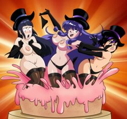 3girls areola big_breasts big_hero_6 breasts busty cake cleavage crossover food gogo_tomago grimphantom hourglass_figure hyuuga_hinata naruto nipples no_bra nude pussy ranma_1/2 shampoo shampoo_(ranma_1/2) surprised top_hat topless undressing voluptuous