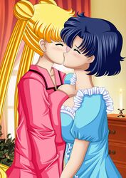 artemisumi bishoujo_senshi_sailor_moon kissing mizuno_ami pajamas sailor_mercury sailor_moon symmetrical_docking tsukino_usagi yuri