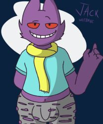 1boy big_testicles black_eyes blue_background bulge clothed furry gengar ghost jack_wilebane looking_at_viewer male midriff navel nintendo original_character penis pokemon purple_fur red_eyes red_sclera scarf shirt smile spirit standing suggestive testicles text torn_clothes video_games