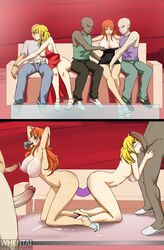 2girls 3boys blonde_hair blush breasts comic crossover cum double_dildo dress fairy_tail fellatio indoors lucy_heartfilia multiple_boys multiple_girls multiple_penises nami nipples nude one_piece oral orange_hair penis