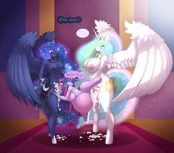 2016 absurd_res alicorn anthro anthrofied areola balls big_breasts blush breasts closed_eyes cum cum_in_mouth cum_in_pussy cum_inside cum_on_ground cutie_mark dialogue dickgirl dickgirl/female dickgirl_penetrating double_penetration english_text equine female friendship_is_magic group group_sex hair hi_res horn horn_grab huge_breasts inflation inflation intersex intersex/female intersex_penetrating limebreaker long_hair mammal my_little_pony nipples nude oral oral_penetration penetration penis princess_celestia_(mlp) princess_luna_(mlp) pussy sex sibling sisters spitroast standing text twilight_sparkle_(mlp) unicorn vaginal_penetration vaginal_penetration vein wings