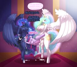 2016 absurd_res alicorn anthro anthrofied areola balls big_breasts blush breasts closed_eyes cum cum_in_mouth cum_in_pussy cum_inside cum_on_ground cutie_mark dialogue dickgirl dickgirl/female dickgirl_penetrating double_penetration english_text equine female friendship_is_magic group group_sex hair hi_res horn horn_grab huge_breasts intersex intersex/female intersex_penetrating limebreaker long_hair mammal my_little_pony nipples nude oral oral_penetration penetration penis princess_celestia_(mlp) princess_luna_(mlp) pussy sex sibling sisters spitroast standing stomach_bulge text twilight_sparkle_(mlp) unicorn vaginal_penetration vaginal_penetration vein wings