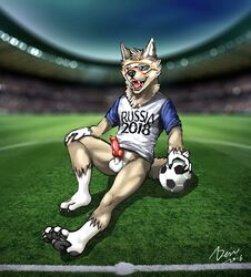 anthro arctic_wolf ball canine furry mammal mascot russian shorts smile soccer soccer_ball sport standing wolf zabivaka