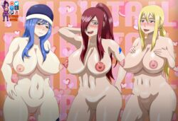 3girls :p armpits bare_legs bare_shoulders blonde_hair blue_eyes blue_hair blush breasts brown_eyes erect_nipples erza_scarlet eyebrows eyelashes eyes fairy_tail female female_only fingers hair_over_one_eye hand_on_breast hand_on_hip hands hat heart hips juvia_lockser large_breasts legs lipstick long_hair looking_at_viewer lucy_heartfilia multiple_girls nipples nose nude pink_lipstick pussy red_hair shiny shiny_skin smile stomach studio_oppai tattoo teeth thick_thighs thigh_highs thighhighs tongue tongue_out very_long_hair