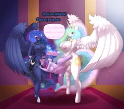 2016 absurd_res alicorn anthro anthrofied areola balls big_breasts blush breasts cutie_mark dialogue dickgirl dickgirl/female dickgirl_penetrating double_penetration english_text equine female friendship_is_magic group group_sex hair hi_res horn horn_grab huge_breasts intersex intersex/female intersex_penetrating limebreaker long_hair mammal my_little_pony nipples nude oral oral_penetration penetration penis princess_celestia_(mlp) princess_luna_(mlp) pussy sex sibling sisters spitroast standing stomach_bulge text twilight_sparkle_(mlp) unicorn vaginal_penetration vaginal_penetration vein wings