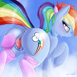 2016 absurd_res anus ass blush clothing cutie_mark dock duo equine female feral friendship_is_magic hair hi_res hooves horse legwear mammal multicolored_hair my_little_pony open_mouth outside pony pussy pussy_juice rainbow_dash_(mlp) rainbow_hair solo_focus spread_pussy spreading twiren