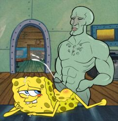 ass badhedgehog blush cum ejaculate krabpenis krusty nickelodeon spongebob_squarepants spongebob_squarepants_(character) squarepants squidward_tentacles tentacle