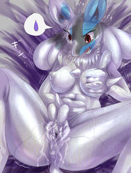 bed breasts breasts_grab female lucario masturbation nintendo nipples petrification pokemon pussy pussy_juice video_games ほっぴんぐ