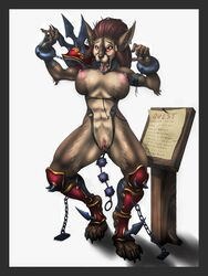 ahe_gao armor bondage bondage bound breasts brown_fur canine chained female fur gilgash hair itsunny_(character) long_hair looking_pleasured mammal pussy slave tongue tongue_out video_games warcraft were werewolf worgen