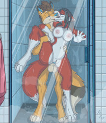 anthro armpits balls big_breasts black_hair blue_eyes breasts brown_hair canine duo erect_nipples erection female fox from_behind_position fuf hair kissing male male/female mammal nipples penis pussy pussy_juice saliva sex shower spread_legs spreading water wet