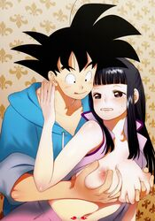 areolae bangs bare_arms black_eyes black_hair blush breast_grab breasts chichi dragon_ball dragon_ball_z duo embarrassed eyebrows eyebrows_visible_through_hair female highres large_breasts long_hair looking_at_another milf navel nipples no_bra open_clothes simple_background sleeveless son_goku sweat tears yukimitsuki