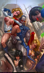 2boys 4girls after_rape alien anal anal_sex ass atlee black_hair blonde_hair blue_eyes bodysuit breasts cape closed_eyes cock darkseid dc dc_comics drooling elbow_gloves facial female gloves grey_skin hips justice_league karen_starr large_breasts legwear leotard long_hair male multiple_boys multiple_girls muscular_female nipples open_mouth penetration penis power_girl pussy rape runny_makeup sabudenego sex shoes short_hair spread_legs supergirl superman superman_(series) tears teeth testicles the_new_gods tiara tongue torn_clothes vagina vaginal_penetration wonder_woman wonder_woman_(series)