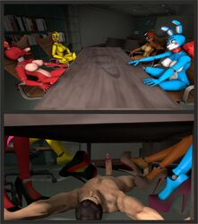 bondage bondage bound clothing dirty domination feet footwear foxy frederika hawkvally high_heels paws shoes slave smell toes toy_bonnie toy_chica under_the_table
