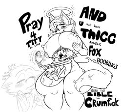 angel anthro areola big_breasts big_thighs blush breasts breasts_on_head crying dawmino english_text female fox furry furry_only halo holding_breasts huge_breasts huge_thighs humor larger_female male meme monochrome nipples nude plain_background praying reynold_(dawmino) shitpost smaller_male straight thicc thick_thighs vulpine white_background