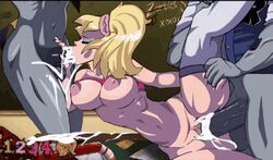 2boys animated balls blonde_hair bouncing_breasts breasts cum cum_in_mouth cum_inside ejaculation fellatio female gangbang gif juliet_starling large_breasts lollipop_chainsaw male navel nipples nude oral penis sex spazkid spitroast thighhighs threesome vaginal_penetration zombie